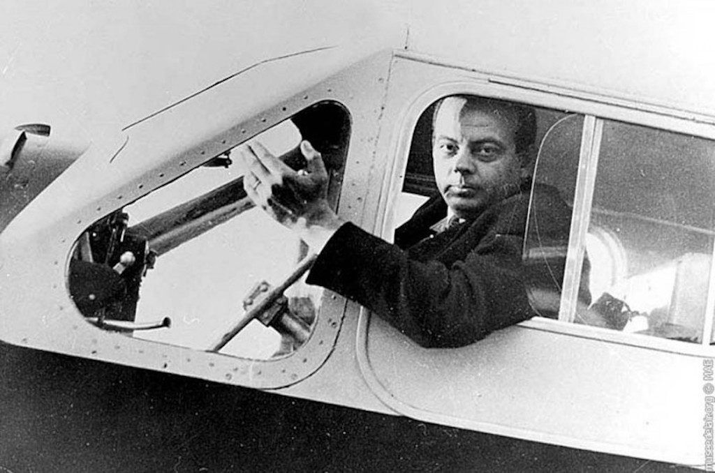 Antoine De Saint-Exupéry in the cockpit.