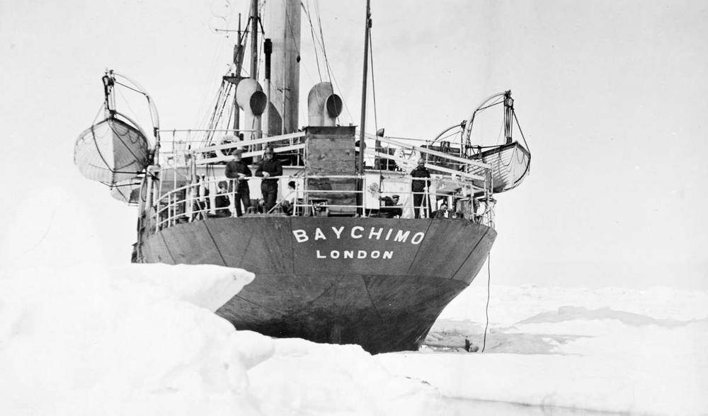 An aft view of the ship trapped in ice.