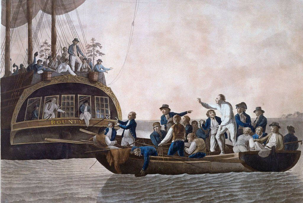 Fletcher Christian and other Bounty mutineers setting Captain Bligh and his loyal crew adrift.