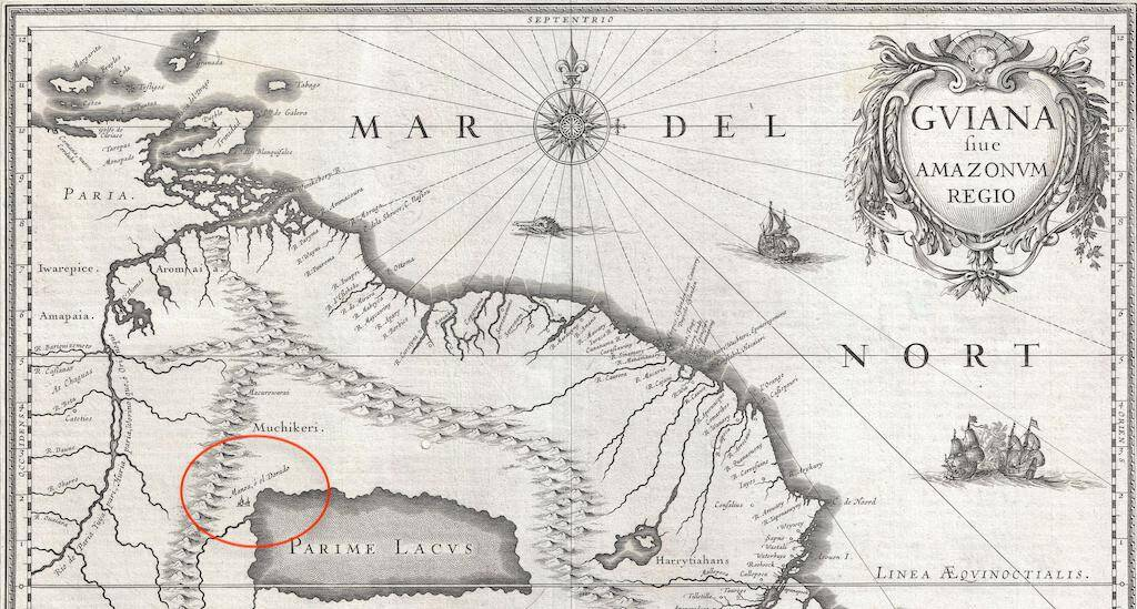 "A portion of a 1635 map of northeastern South America. ""El Dorado"" is circled in red."