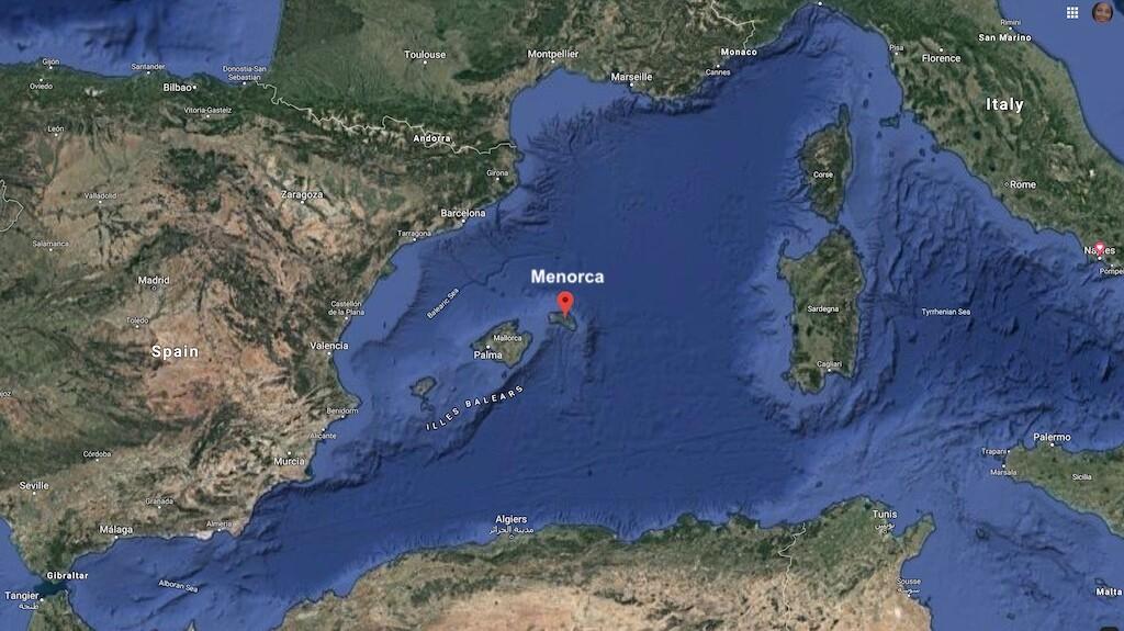 Menorca is located in the western Mediterranean between Sardinia and Spain.
