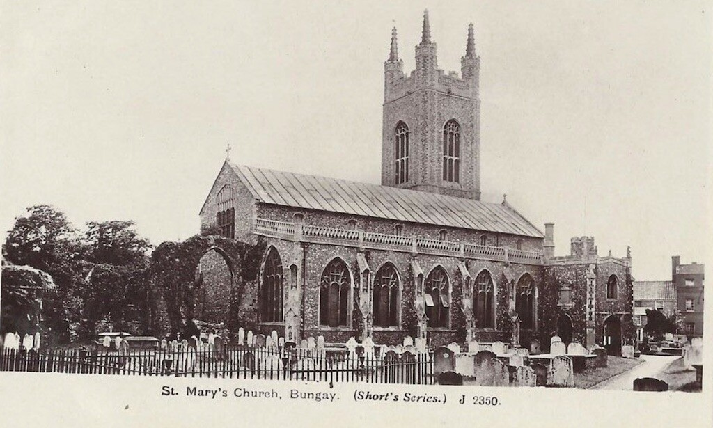 An old postcard of St. Mary's Church, Bungay.  Did Black Shuck attack members of this church in 1577?