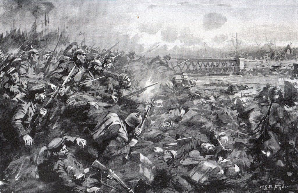 German attack at the Battle of Mons. Image by W.S. Bagdatopoulos