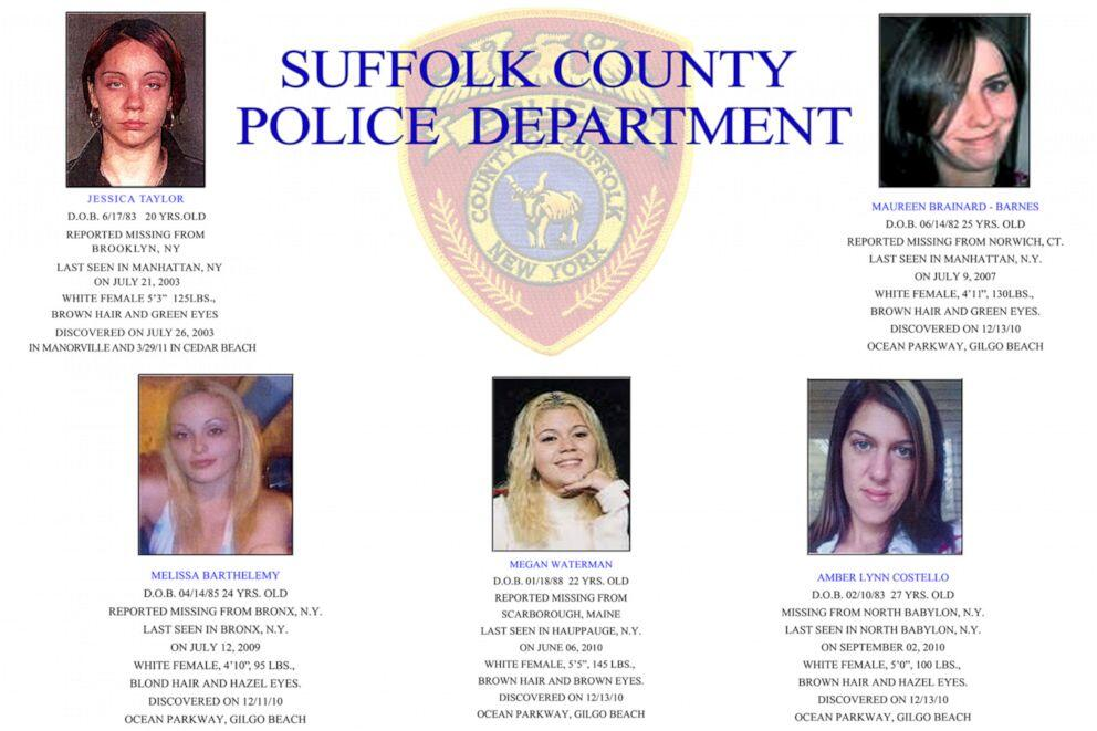 A 2011 Suffolk County Police handout showing five of the 10 known Long Island Serial Killer victims found near Gilgo Beach.