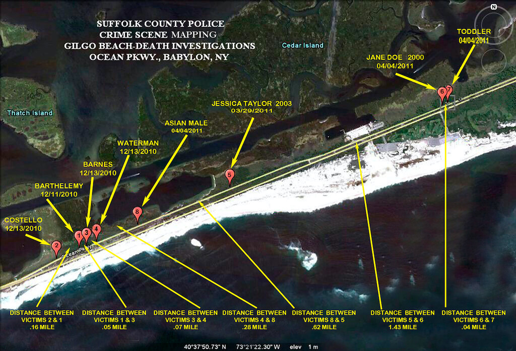 Police diagram showing where the bodies of the Long Island Serial Killer were found.
