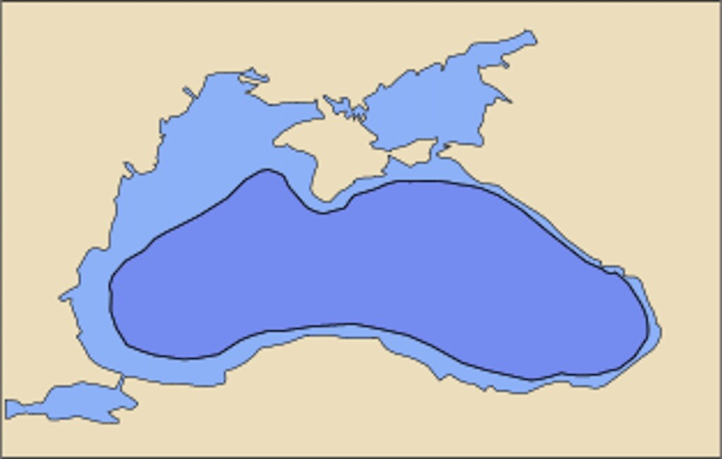 Black Sea today (light blue) and in 5600 BC (dark blue) before the Black Sea Flood, according to Ryan and Pitman's hypothesis
