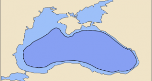 Black Sea today (light blue) and in 5600 BC (dark blue) according to Ryan and Pitman's hypothesis