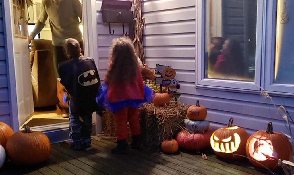 Trick-or-treaters at Halloween