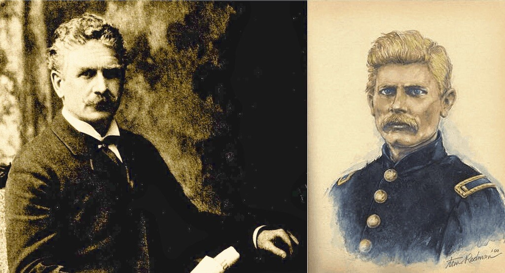 Portraits of Ambrose Bierce as writer and soldier.