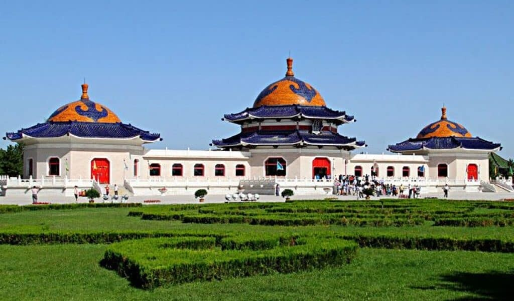 Genghis Khan Mausoleum in Ordos, Mongolia. His true burial place is a mystery.