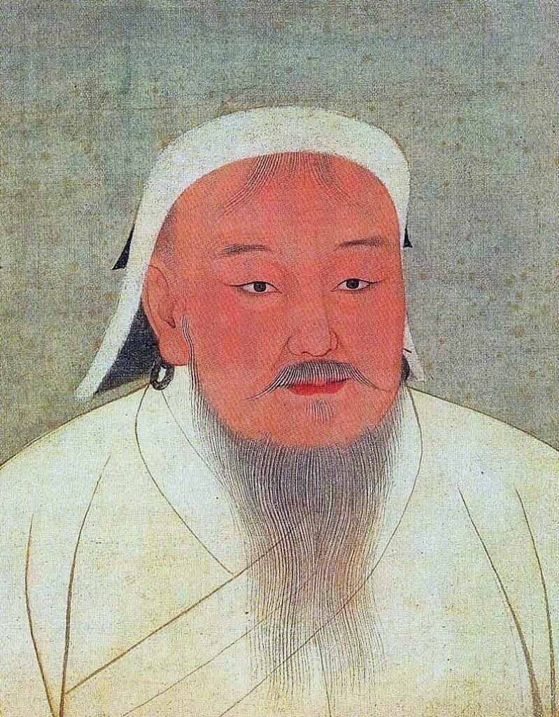 Portrait of Genghis Khan, ca. 14th century, public domain.