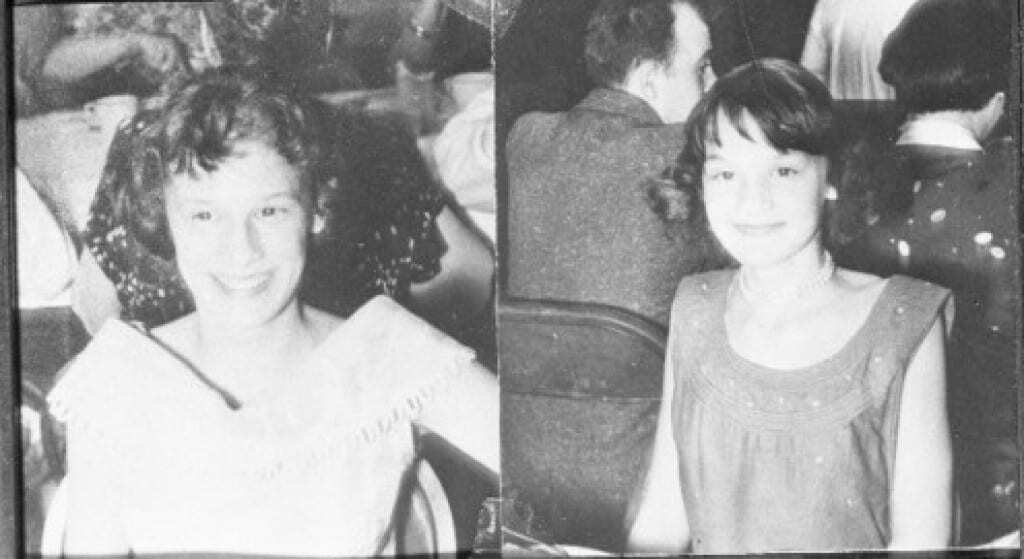 grimes sisters (L) Barbara Grimes, 15 and (R) Patricia Grimes 13.