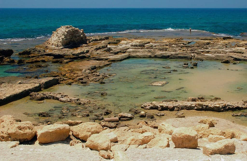Caesarea is the earliest known large scale example of underwater Roman concrete.