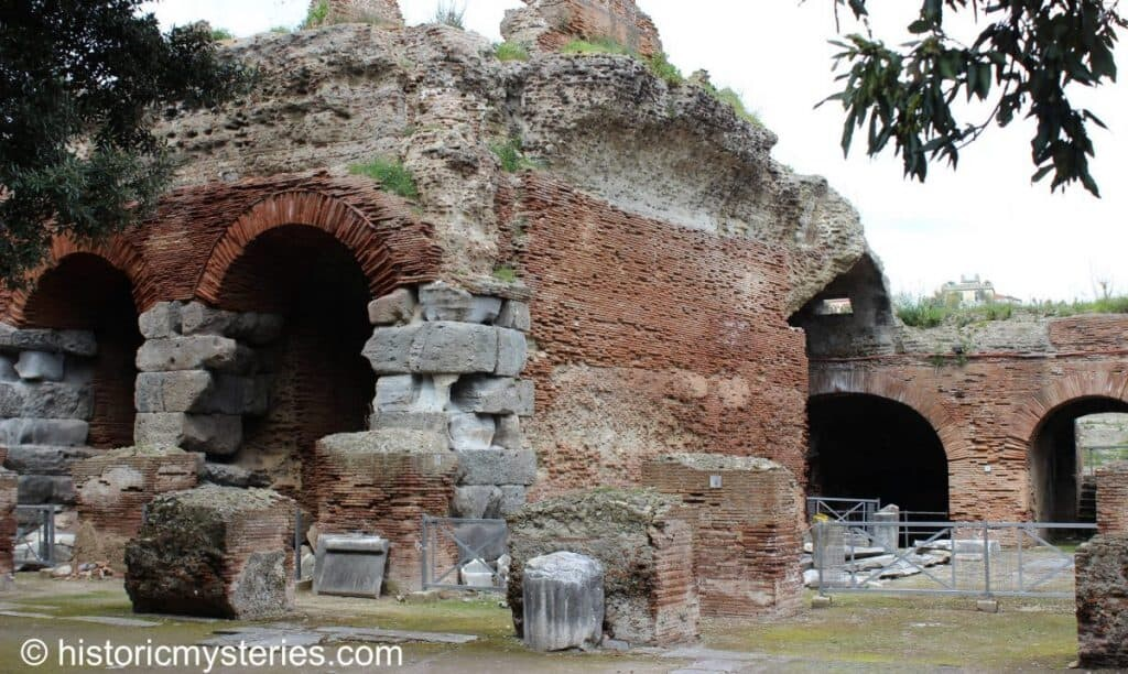 The outer structure of the Flavian Amphitheater in Pozzuoli. Parts of the original Pozzolana roman concrete are still visible.