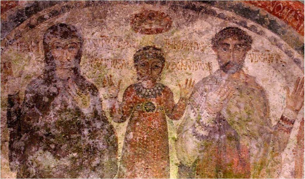 Family fresco in the San Gennaro Catacombs