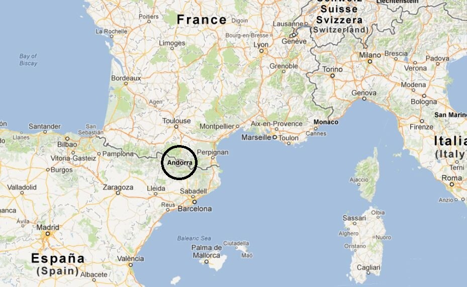 Map showing the location of Andorra.