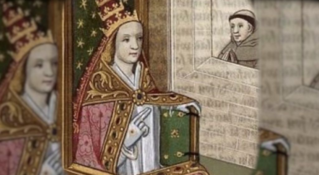 An illustrated manuscript depicting Pope Joan with the papal tiara. Bibliothèque nationale de France, circa 1560.