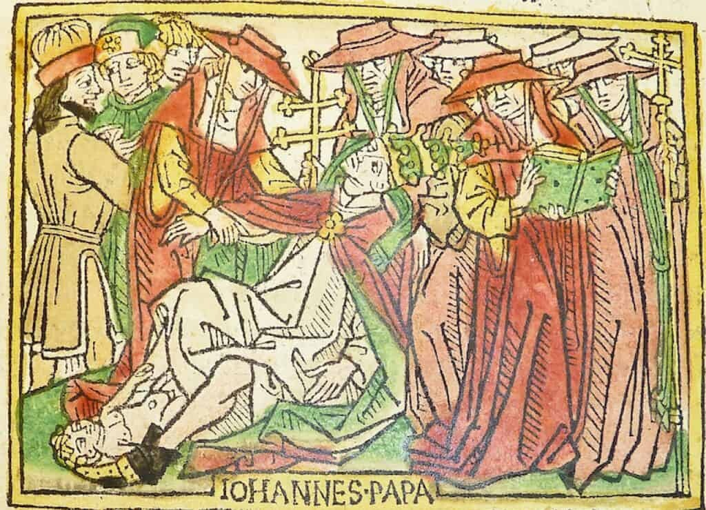 Pope Joan giving birth. Woodcut from a German translation by Heinrich Steinhöwel of Giovanni Boccaccio's De mulieribus claris, printed by Johannes Zainer at Ulm ca. 1474. Image: kladcat [CC BY 2.0]
