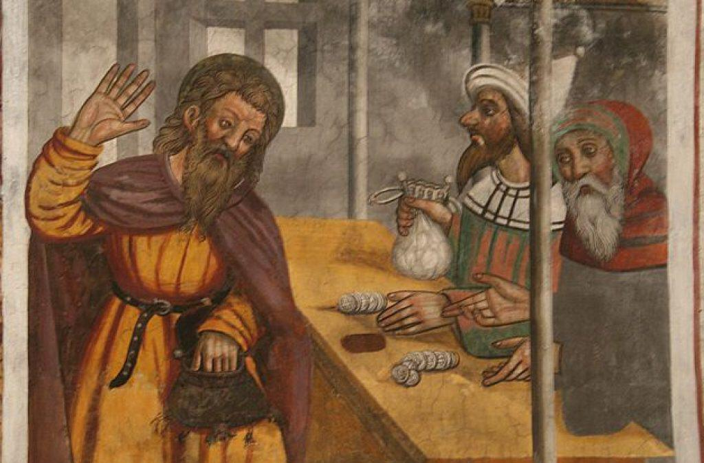A 16th-century fresco depicting Judas being paid the thirty pieces of silver. Image credit: Wikipedia.