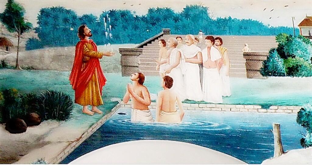 A painting of Thomas baptizing the Brahmins inside the Syro-Malabar church at Palayur, Kerala, India