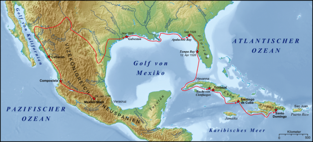 Route of Narváez expedition (until November 1528 at Galveston Island), and a historical reconstruction of Cabeza de Vaca's later wanderings. Image credit: wikipedia.