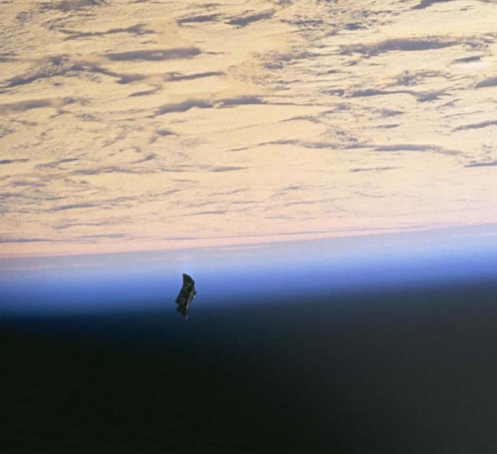 Image of a thermal blanket dislodged from the Space Shuttle Endeavor. Nasa photos.