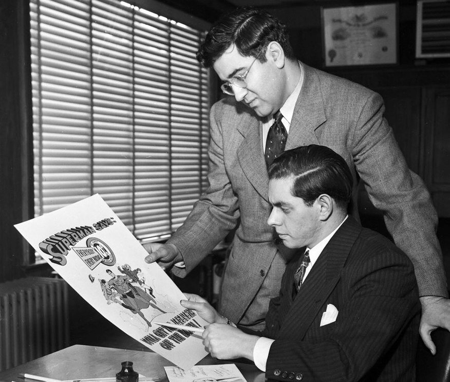 A 1942 photo of Jerry Siegel (standing) and Joe Shuster. They were the creators of Superman.