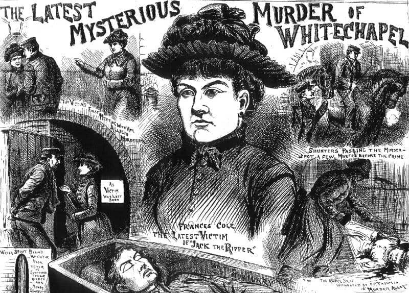 Newspaper images of Frances Coles, the last Whitechapel victim of Jack the Ripper.