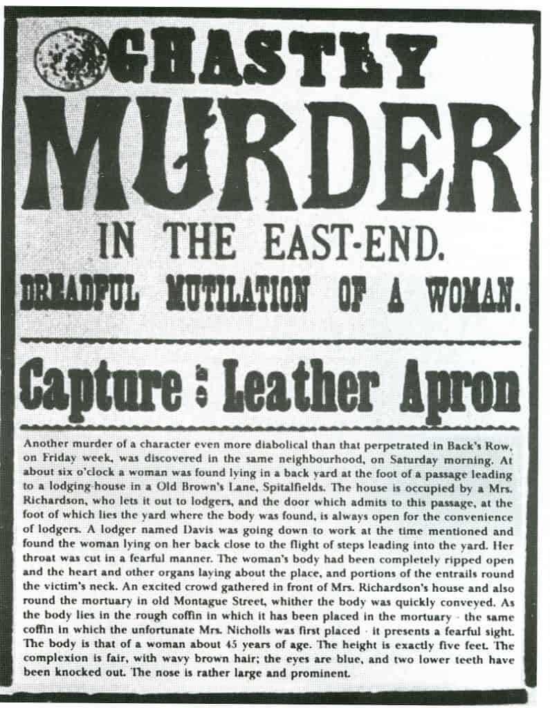 An 1888 newspaper headline reporting on a Jack the Ripper murder.