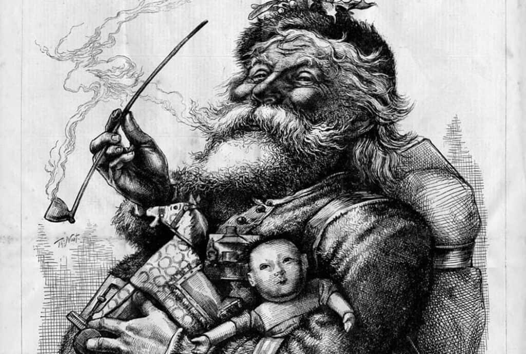 1881 illustration by Thomas Nast. This drawing shaped the modern image of Santa Claus.