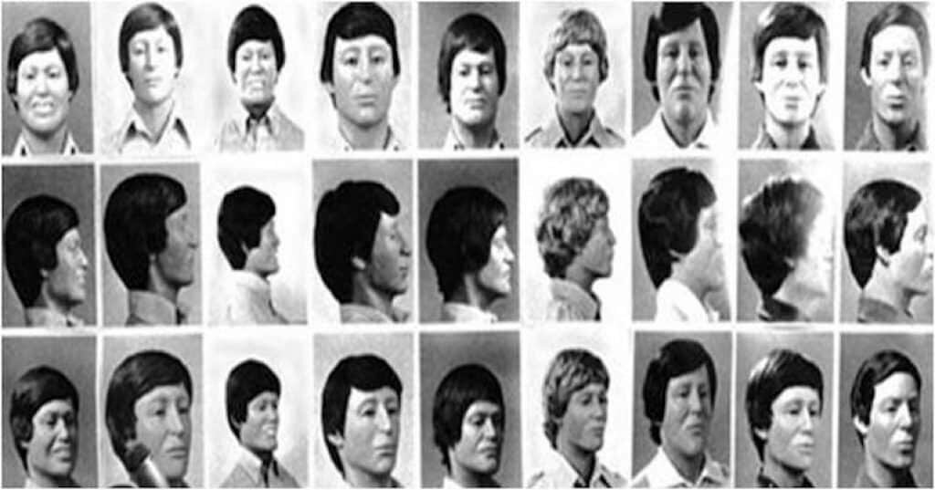 Reconstructed faces of the unidentified victims of John Wayne Gacy.