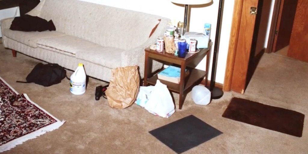 Police photo of Jeffrey Dahmer's living room.