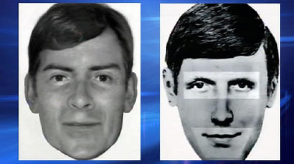 Comparison photo of a young Peter Tobin and the police sketch of Bible John