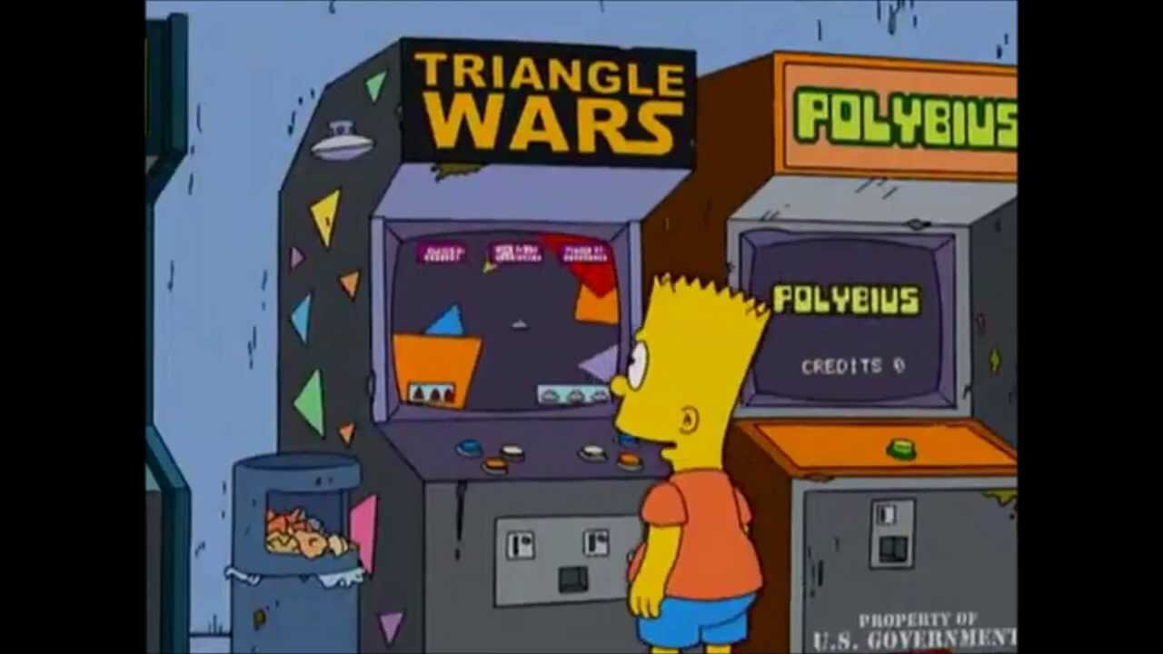 "The game Polybius is seen in this The Simpons' ""Please Homer, Don't Hammer'Em"""