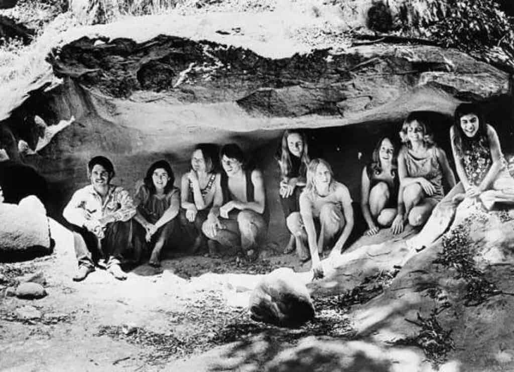 The Manson family posing for a photo near Spahn Ranch.
