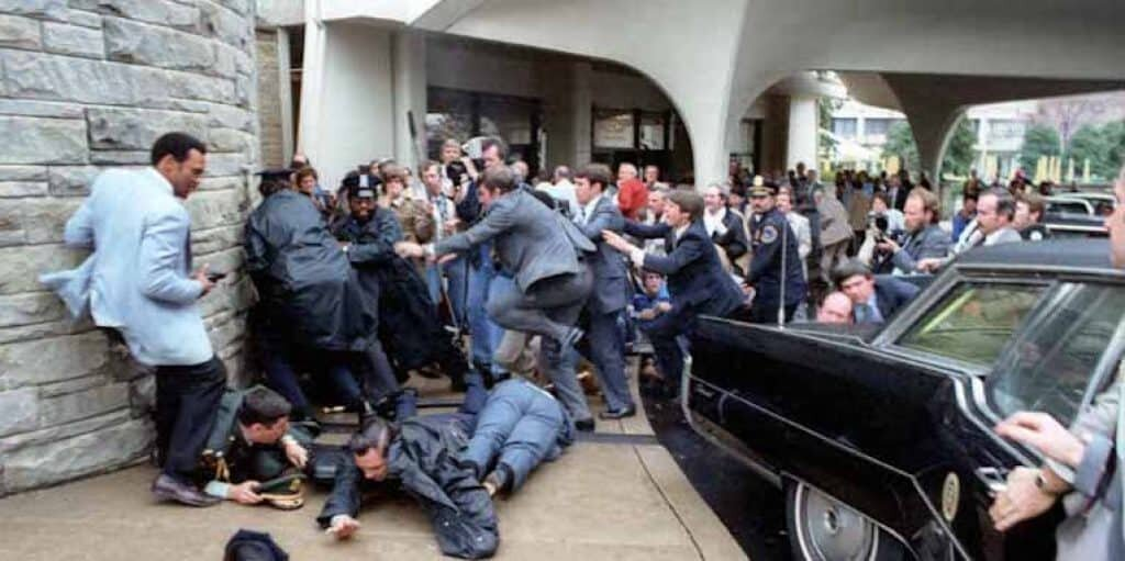 Image was taken immediately following Hinckley's attempted assassination of President Reagan.
