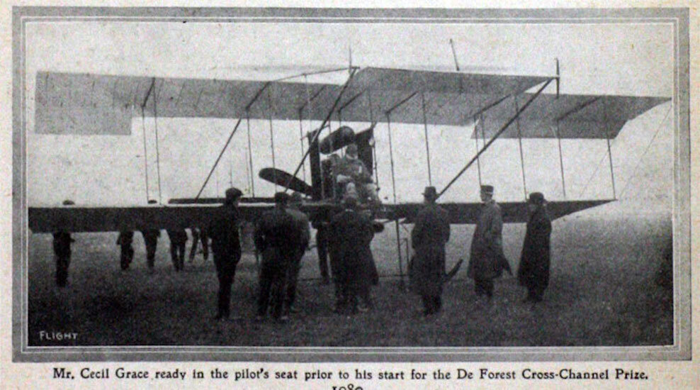 Cecil Grace prepares for his doomed flight in an effort to win the Baron de Forest Prize. December 22, 1910. Photo Credit: Flight.