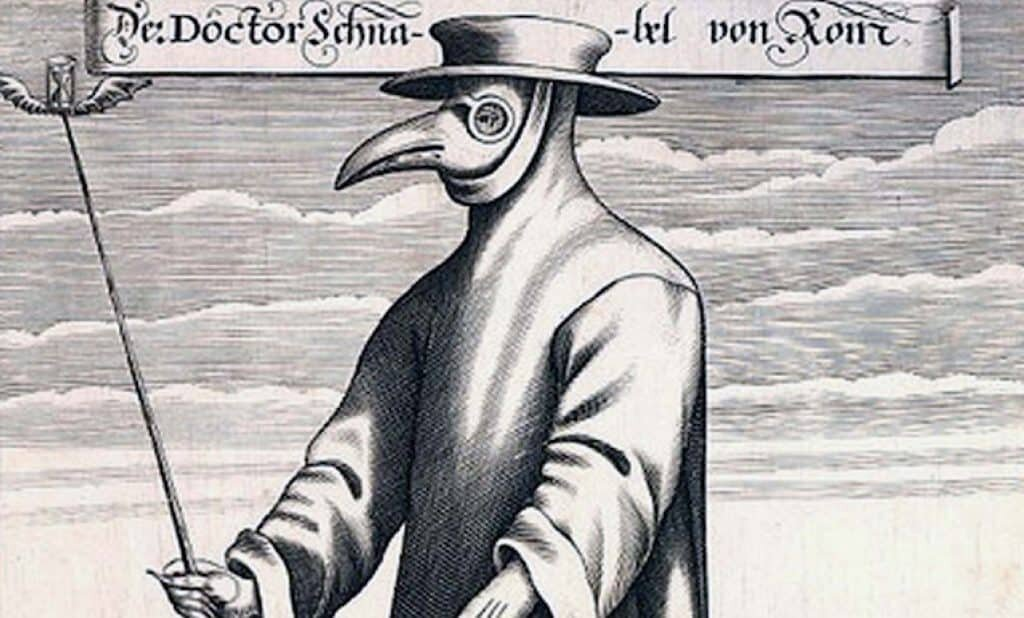 A 1656 engraving highlighting the Plague Doctors outfit.