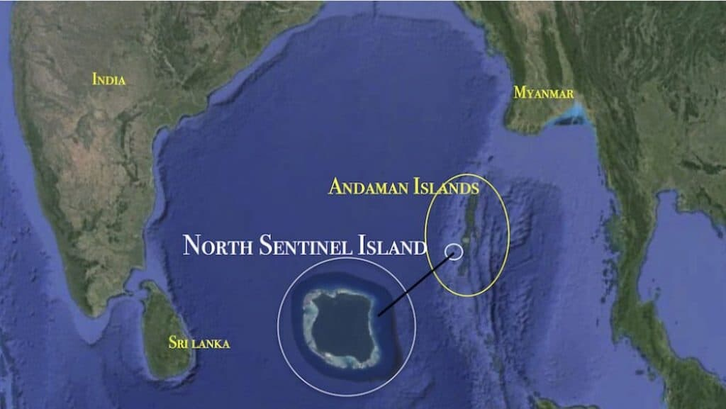 North Sentinel Island map.