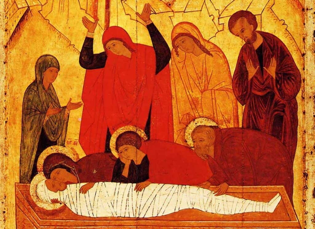 15th Century Painting: Lamentation at the Tomb.