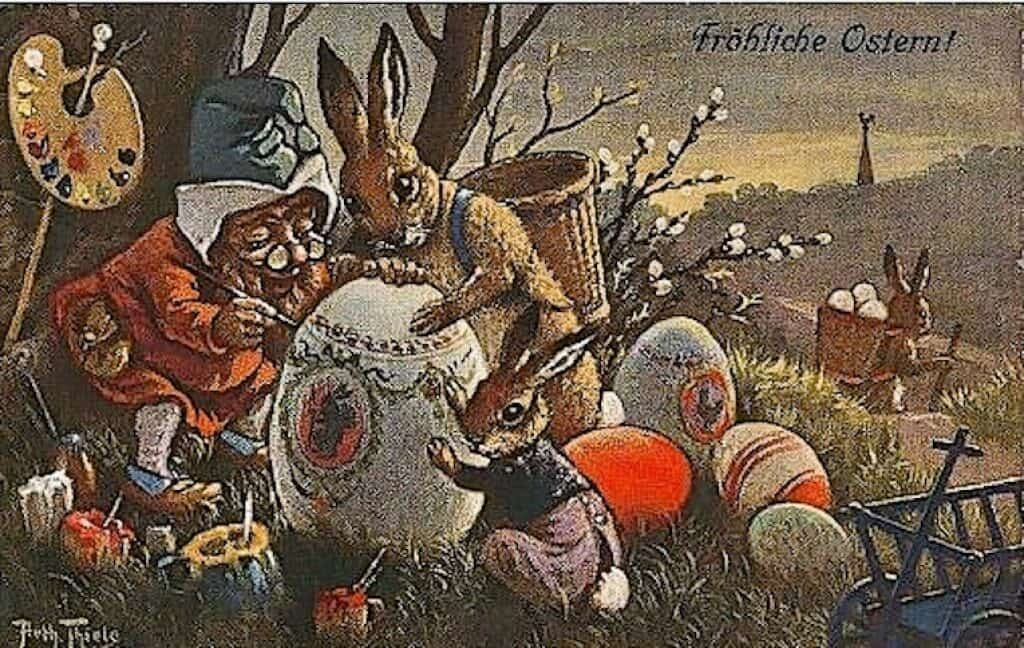 An Easter postcard depicting the Easter Bunny.