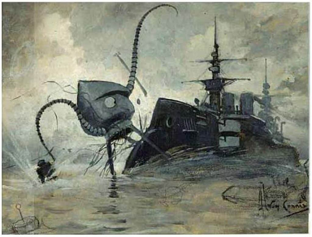 The Great Galactic Ghoul. From the novel, War of the Worlds. 1906.