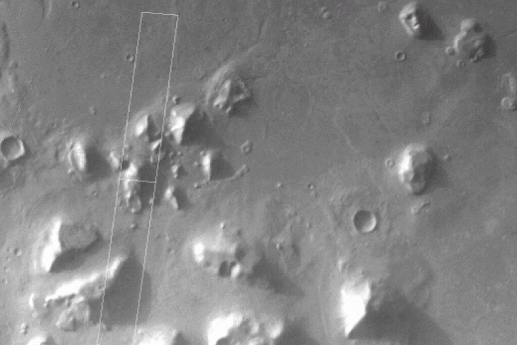 Cydonia (The City), Mars. The famous face of Mars in the upper right corner. Mars Global Surveyor Mars Orbiter Camera Release, Great Galactic Ghoul.