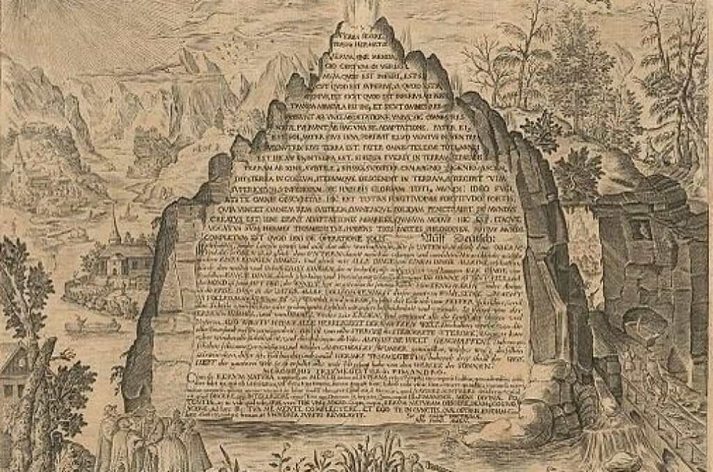 Engraved image of the Emerald Tablet, 1609.