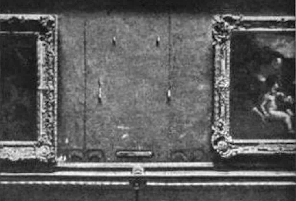 The Mona Lisa's vacant place in the Louvre Museum, after having been stolen in 1911.