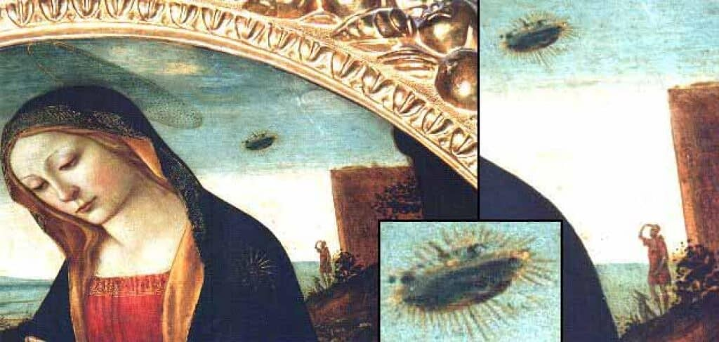 The Madonna with Saint Giovannino painting showing details of celestial object and shepherd with dog.