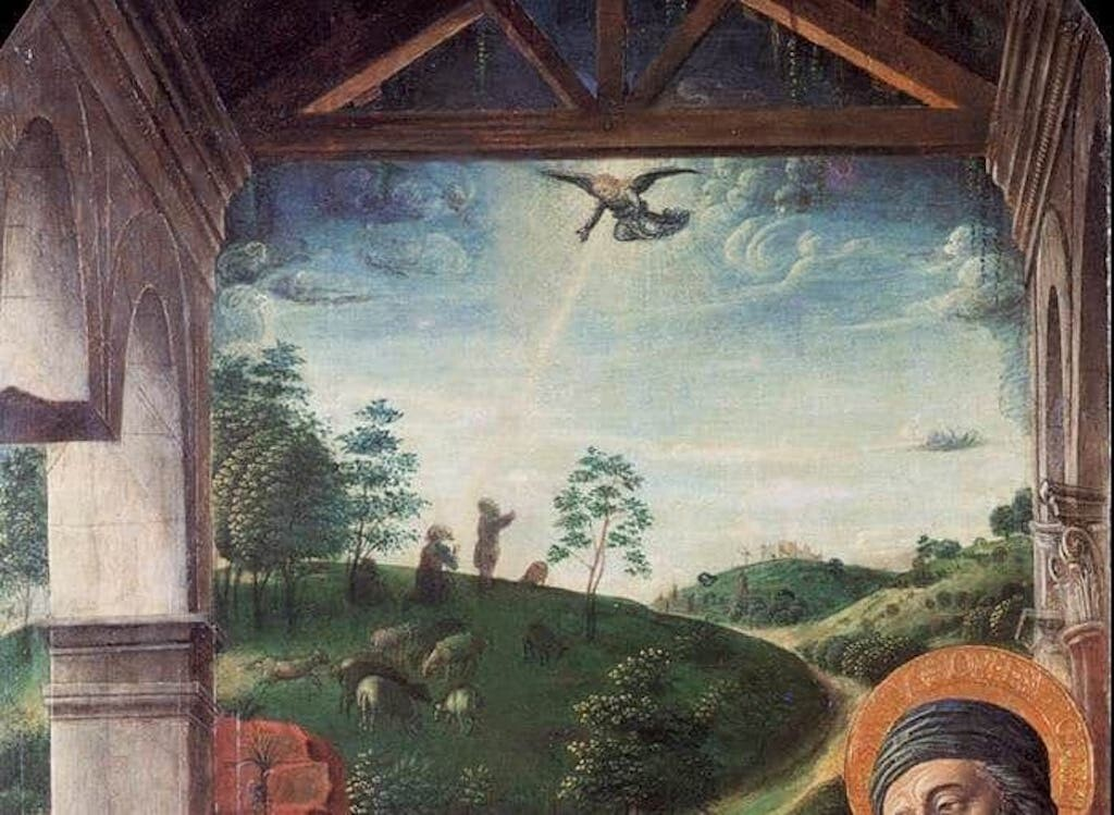 Another shepherd scene with a beaming angel excerpted from the Adoration of the Christ Child, by Vincenzo Foppa, 15th century.