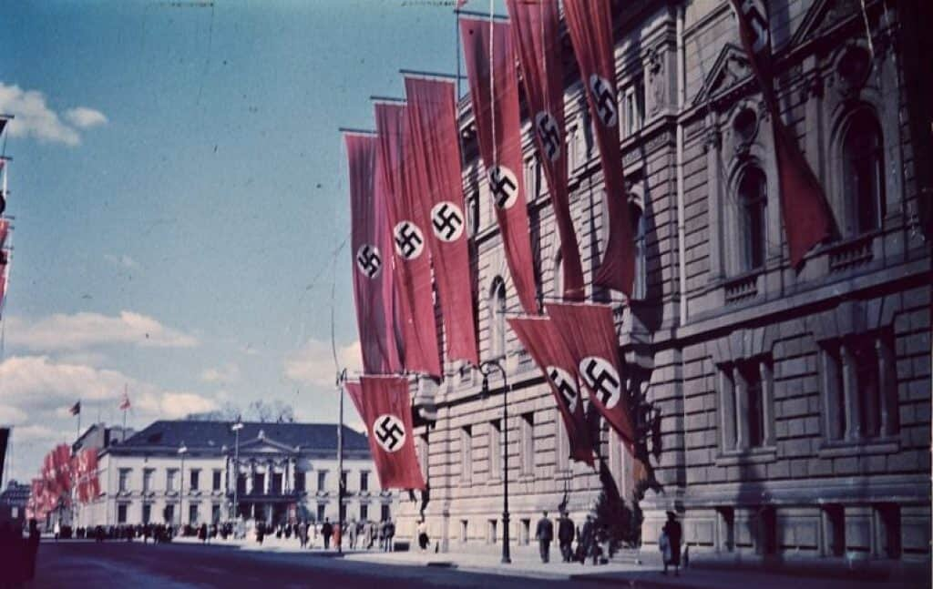 History of the swastika on Nazi flags.