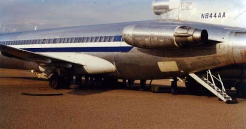 The Boeing 727 N844AA shortly before it disappeared after delivering fuel to a diamond mine. Image Credit: Mike Gabriel