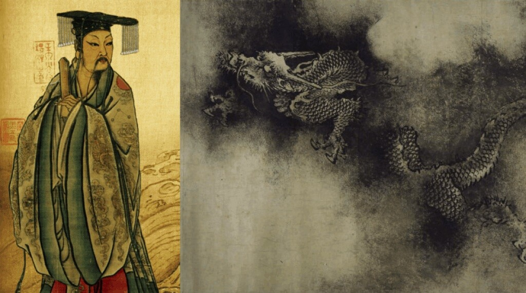 Yu the Great tamed the Great Flood of China with the help of a dragon. Song dynasty paintings. Public domain.